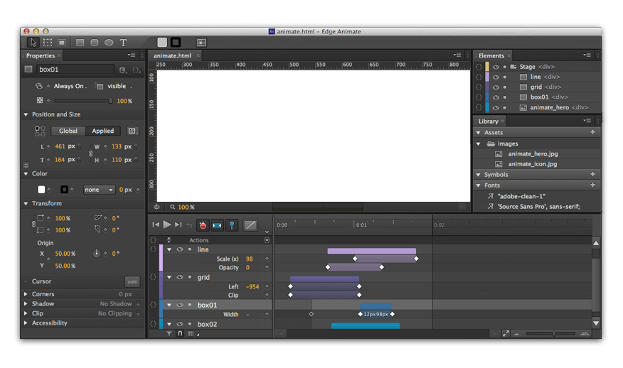 Adobe Edge Animation Screenshot